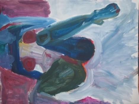 mujer-con-las-piernas-abiertas-en-azul-blanco-y-verde-con-la-cara-oculta-fumando-y-con-fondo-granate